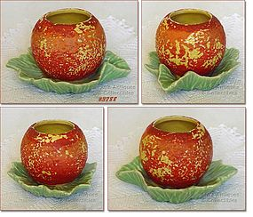 McCOY POTTERY � ORANGE FRUIT PLANTER LIGHT GREEN LEAVES
