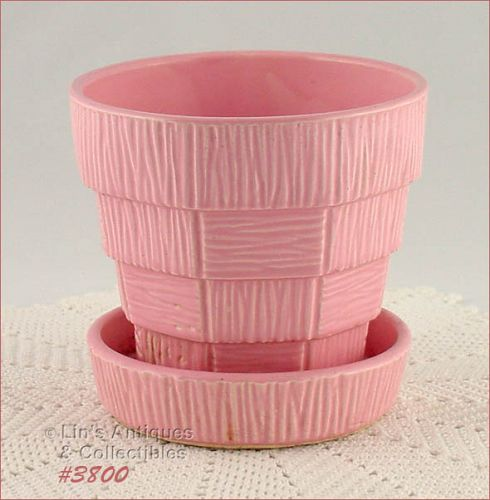 McCOY POTTERY PINK BASKETWEAVE 5 INCHES TALL FLOWERPOT
