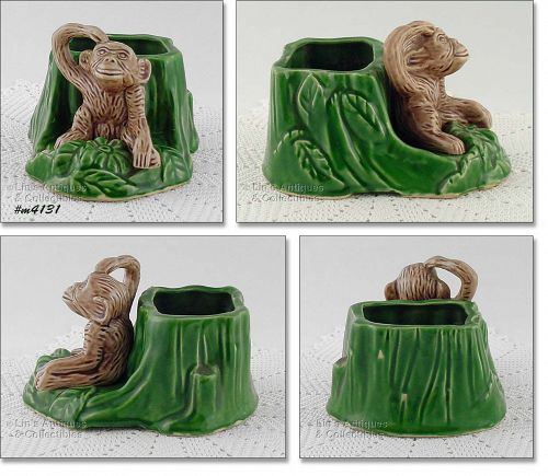 SHAWNEE POTTERY VINTAGE MONKEY BY STUMP PLANTER