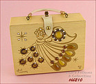 "VINTAGE ENID COLLINS WOODEN BOX BAG ""GLAD MONEY"" AN ANGEL WITH COINS"