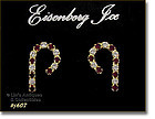 EISENBERG ICE � RHINESTONES CANDY CANE SHAPED PIERCED EARRINGS
