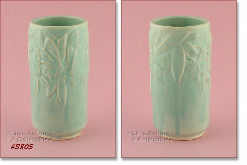 McCOY POTTERY BUTTERFLY LINE 6 INCHES TALL AQUA COLOR VASE