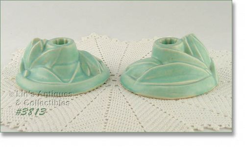 McCOY POTTERY LILY BUD LINE  AQUA COLOR CANDLE HOLDERS