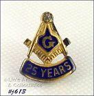 MASONIC STERLING WITH DIAMOND 25 YEAR PIN