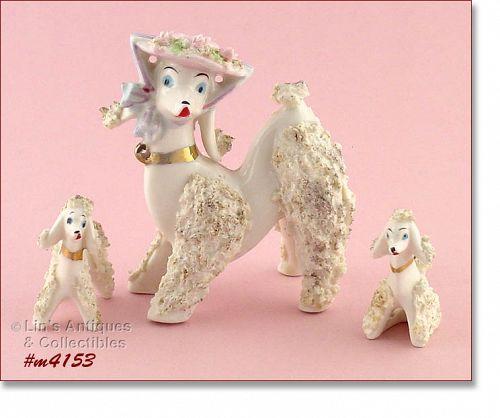 VINTAGE WHITE SPAGHETTI POODLE DOG FAMILY