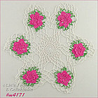CROCHET DOILY WITH PINK FLOWERS