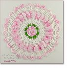 VINTAGE CROCHET DOILY WITH PINK FLOWER CENTER