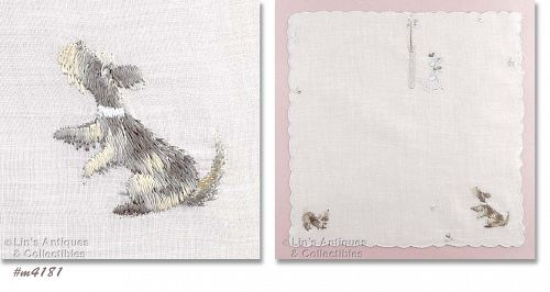 EMBROIDERED DOGS HANDKERCHIEF