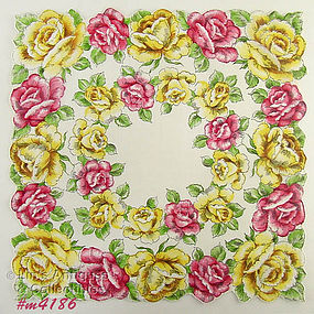 PINK ROSES AND YELLOW ROSES LARGE SIZE HANKY