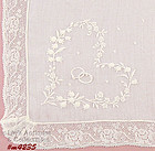 WEDDING HANDKERCHIEF WITH EMBROIDERED RINGS