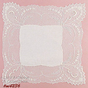 WHITE ON WHITE �E� MONOGRAMMED HANDKERCHIEF