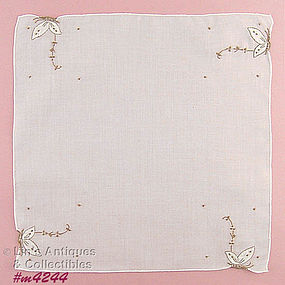 WHITE MADEIRA HANDKERCHIEF WITH BUTTERFLIES