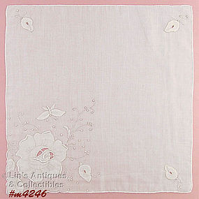 WHITE ROSE AND BUTTERFLY MADEIRA HANDKERCHIEF