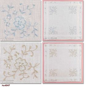 TWO WHITE HANKIES WITH FLORAL EMBROIDERY