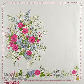 VASE OF FLOWERS LARGER SIZE HANDKERCHIEF