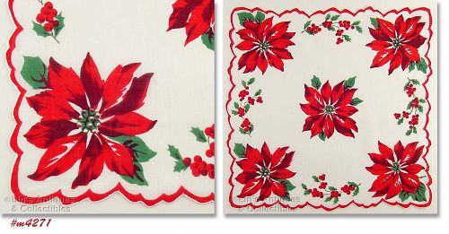 CHRISTMAS HANDKERCHIEF WITH POINSETTIAS