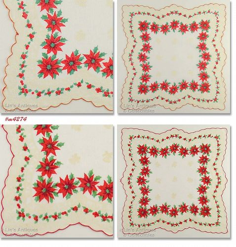 Vintage Christmas Hanky Poinsettias and Bells