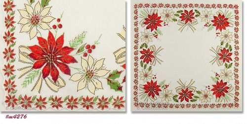 RED AND WHITE POINSETTIAS CHRISTMAS HANKY