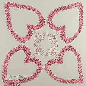 4 LARGE HEARTS VALENTINE HANDKERCHIEF