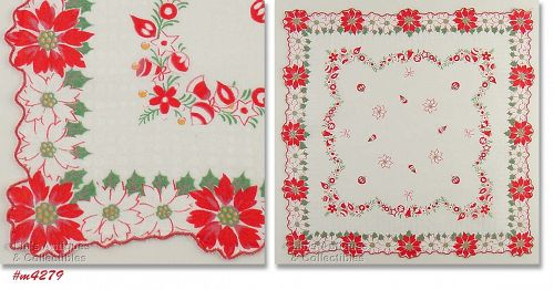 POINSETTIAS AND ORNAMENTS HANDKERCHIEF