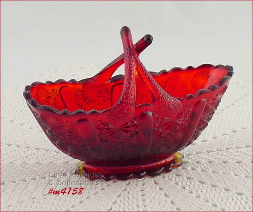 VINTAGE FENTON GLASS SMALL RED BASKET