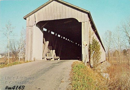 COVERED BRIDGE VINTAGE POSTCARD � FAIRFIELD BRIDGE, EASTERN INDIANA