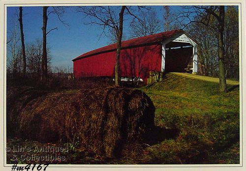 COVERED BRIDGE POSTCARD � McALLISTER�S BRIDGE, PARKE CO., INDIANA