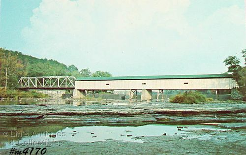 COVERED BRIDGE POST CARD � GRAND BRIDGE, HARPERSFIELD, OHIO