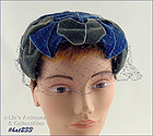 BLUE AND GRAY HAT WITH BLUE NETTING VEIL