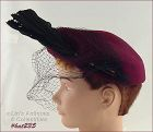 BURGUNDY COLOR HAT WITH BLACK NETTING VEIL