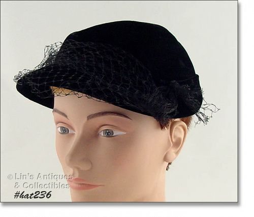 BLACK HAT WITH BLACK NETTING VEIL