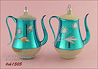 PAIR OF WEST GERMANY TEAPOT ORNAMENTS