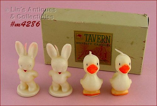 TAVERN CANDLE COMPANY DUCKS AND BUNNIES VINTAGE EASTER CANDLES