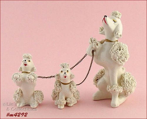 SPAGHETTI POODLES VINTAGE SNOOTY MAMA POODLE WITH TWO BABIES