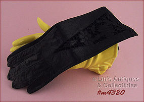 BEAUTIFUL BLACK LEATHER GLOVES (SIZE 6 � 6 ½)