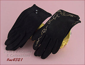 2 PAIRS BLACK GLOVES (SIZE 6 � 6 ½)
