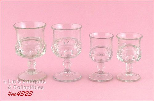 KINGS CROWN 2 WINE GLASSES AND 2 CORDIALS
