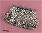WHITING DAVIS SILVER COLOR VINTAGE METAL MESH EVENING BAG