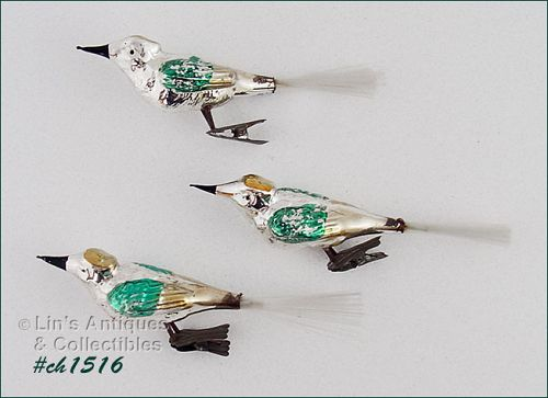 LOT OF 3 VINTAGE GLASS BIRD CLIP ORNAMENTS