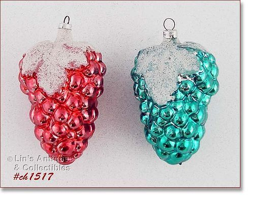 TWO VINTAGE WEST GERMANY LARGE GLASS GRAPE CLUSTER ORNAMENTS