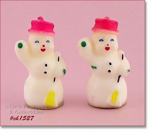 TWO VINTAGE SNOWMAN GURLEY CANDLES