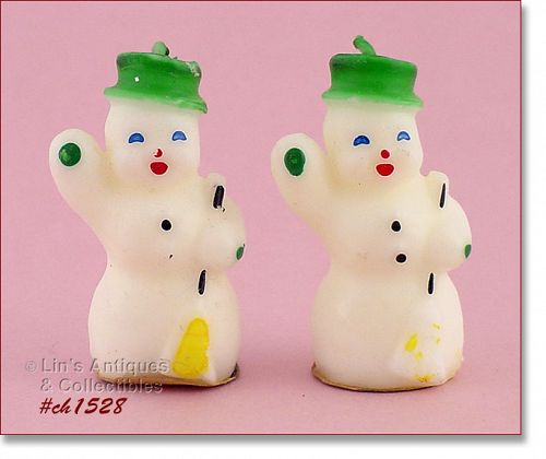GURLEY CANDLE TWO VINTAGE SMALL SNOWMAN CANDLES