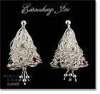 EISENBERG ICE CHRISTMAS TREES OR BELLS SILVER TONE PIERCED EARRINGS