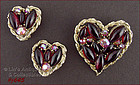HEART SHAPED PIN AND EARRINGS