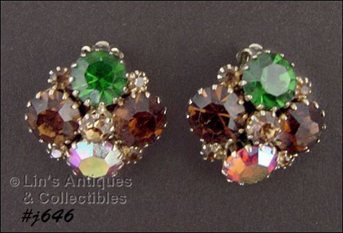 BEAUTIFUL VINTAGE WEISS CLIP BACK RHINESTONE EARRINGS