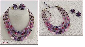 VINTAGE 4-STRAND GLASS BEAD NECKLACE WITH EARRINGS