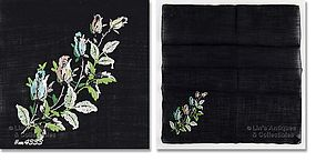 BLACK HANKY WITH PETIT-POINT ROSEBUDS