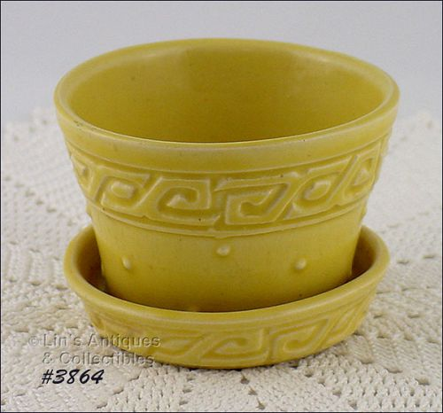McCOY POTTERY YELLOW GREEK KEY 2 3/4 INCH TALL FLOWERPOT