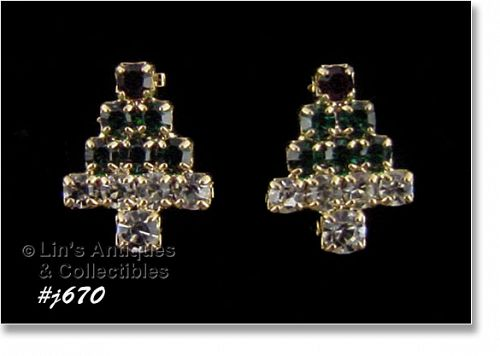 EISENBERG ICE RHINESTONES CHRISTMAS TREE SMALL EARRINGS