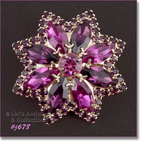 EISENBERG ICE STAR SHAPED SHADES OF PINK RHINESTONE PIN 4 AVAILABLE
